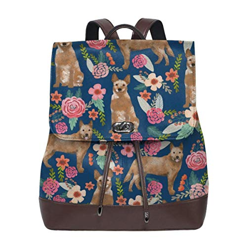 Fashion Leather Backpack Australian Cattle Dog Florals Florals Purse Waterproof Anti Rucksack PU Leather Bags