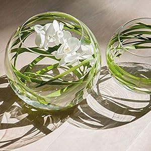 Glasmanufaktur Mitienda, Windlicht aus Glas, klar, Windlicht, Blumenvase mit Bauch klein, Teelichthalter, mundgeblasene Vase aus Mexiko, Glas-Recycling