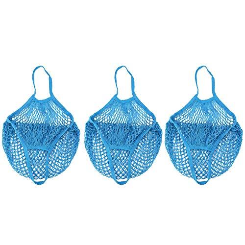 Masrin 3Pcs Einkaufstasche Geflochten Einkaufstasche Netz Shopping Bag Wiederverwendbare Obst Aufbewahrungstasche Tote (Blau) -