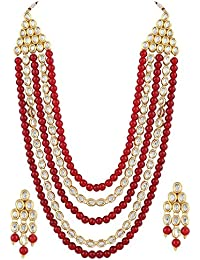 Peora Traditional Jwellery Rani Har Gold Plated Pearl Kundan Stone Studded Necklace Earring Set