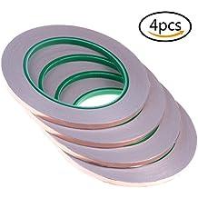 Welecom 4unidades de cobre cinta con adhesivo conductor para blindaje Emi, repelente de babosas, papel circuitos eléctricos, reparaciones, toma de tierra