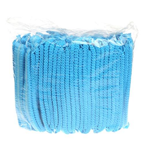 YUENA CARE 100 Jetables Transparente Capuchons de Cheveux Bonnet de Douche Bouchons Chapeau pour Spa Salon Professionnel et Privé Universelle Bleu