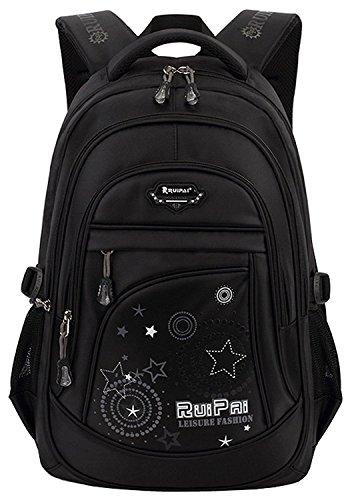 Fashion Mädchen Jugendliche Schulrucksack Teenager Schultasche Outdoor Daypacks (Schwarz)