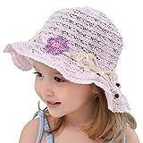 Snyemio Cappello da Sole in Paglia Bambino Ragazze da Spiaggia Estivi Fiori Berretto Protezione UV 0-8 Anni