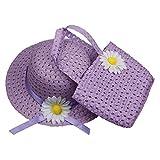 ACVIP Bimba e Bambina Cappello da Sole e Borsetta in Paglia con Decorativo Margherita (viola)