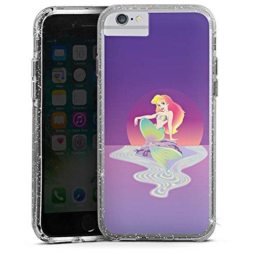 Apple iPhone 7 Bumper Hülle Bumper Case Glitzer Hülle Disney Arielle Die Meerjungfrau Geschenke Merchandise Bumper Case Glitzer silber