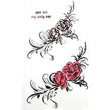 """GGSELL GGSELL nuevo diseño producto Dimensión degradado """"x3.74(17* 9,5cm) negro rosa y rojo Rosas tatuaje adhesivo para las mujeres"""