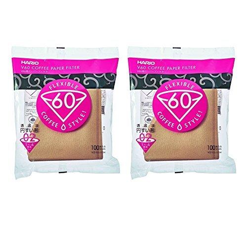 Hario V60 02 Kaffee Papierfilter Natur, 2er Pack Set (Gesamtanzahl von 200 Blättern)