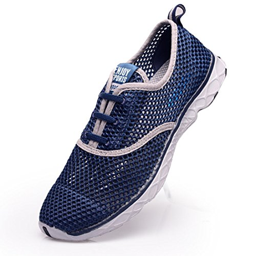 Men's Breathable Lightweight Slip On Outdoor Running Shoes navy gray