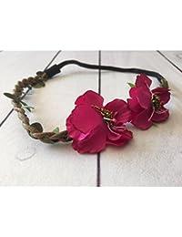 Bandeau double fleurs cotés modèle fushia