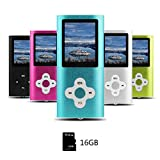 Btopllc MP3 / MP4 Player 16 GB Mini-USB-Anschluss wiederaufladbar Schlankes klassisches Digital LCD MP3 / MP4 Medienplayer / Audio - Blau