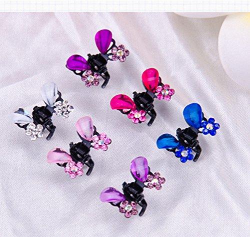 Cuhair (TM) 6 pcs Frange Mini Barrettes Pince à cheveux Épingle à cheveux Noir Papillon Cristal de strass pour fille Mélange coloré