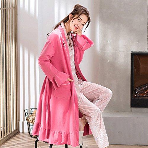 Bathrobe ZLR Spring Autumn Sleep Robe Long-sleeve Pure Cotton Pajamas Middle Long Section Home Clothes (Size : XL)