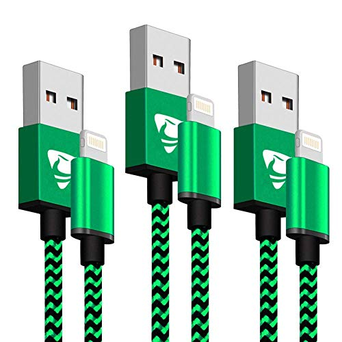 Phone Charger Cable Aione 3Pack 2M Nylon Braided Phone Charger Compatible with iPhone X iPhone 8 8 Plus 7 7 Plus 6s 6s Plus 6 6 Plus iPad iPod-Green