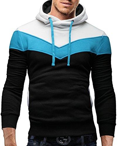 Merish Uomo Felpa con Cappuccio, Tri-color, due borse cuciti, moderno Sweatshirt 74 Nero / Bianco