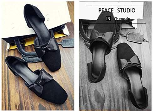 NobS Femmes Chaussures Scrub Cuir Chunky Heel Round Bow Square Toe Retro Fashion Mary Janes Chaussures Black