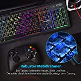 DBPOWER USB Gaming Tastatur, 7-farbige LED Tastatur - 5