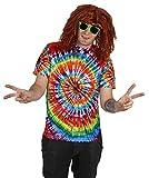Foxxeo 70er Jahre Batik T-Shirt für Hippie Hippie Kostüm Herren Größe M