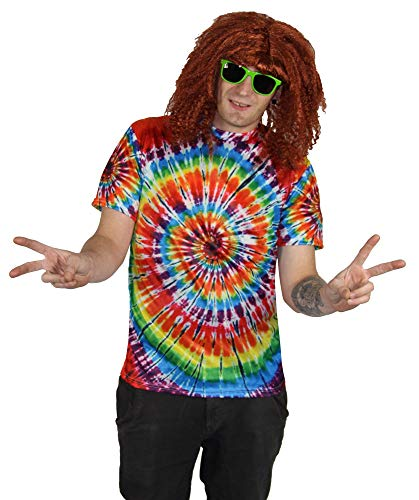 Herren Erwachsene Kostüm Für Shirt - Foxxeo 70er Jahre Batik T-Shirt für Hippie Hippie Kostüm Herren Größe XXXL