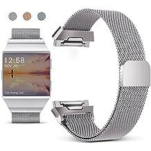 Correa para Fitbit Ionic,Mornex Pulsera Milanese Acero Inoxidable Metal Reemplazo Reloj Banda Adjustable Deporte para Fitbit Ionic
