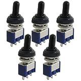 Urbest 10pcs AC 125V 6A on/off/on 3position Spdt 3Pins Interrupteur à bascule W Noir Housse imperméable
