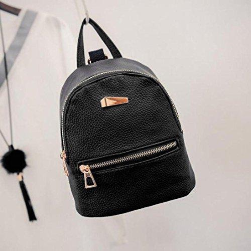 Imagen de goodsatar de las mujeres nuevo cuero artificial  bolso de viaje  escolar 19x17x12cm negro, un tamaño  alternativa