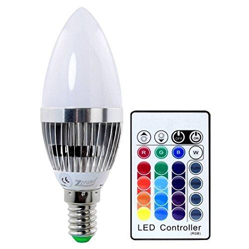 Zgrand - Lampadina a candela RGB, con telecomando, 16 colori intercambiabili, dimmerabile, 3W E27E14, bianco 3.00 wattsW