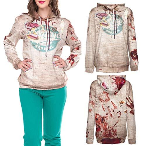 Freizeit Top -Frauen-Halloween-Buchstabe-Druck-Lange Hülsen-Partei-Pullover-Bluse mit Kapuze Sweatshirt-Sweatshirt Damen -