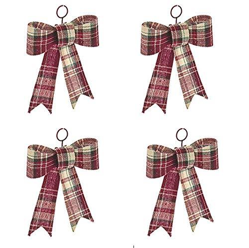 Navidad tela escocesa lazo rojo 13cm-juego 4