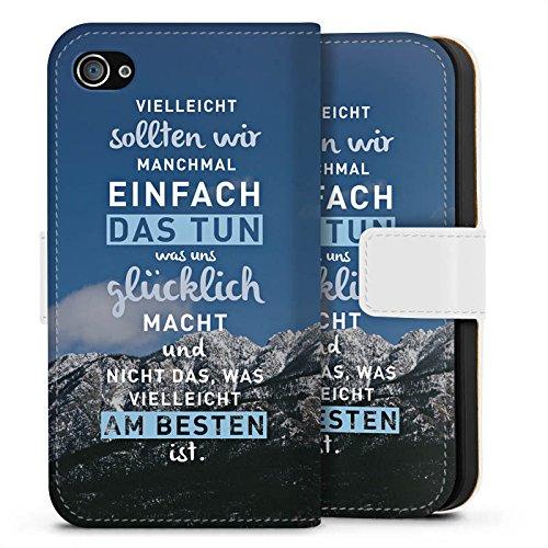 Apple iPhone X Silikon Hülle Case Schutzhülle Sprüche Glücklich Statement Sideflip Tasche weiß