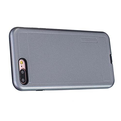 """MOONCASE iPhone 7 Plus Hülle, Dual Layer Soft TPU + Rutschfest Hart PC Schale Anti-Shock Defender Schutz Tasche Schutzhülle Case für iPhone 7 Plus 5.5"""" Schwarz Grau"""