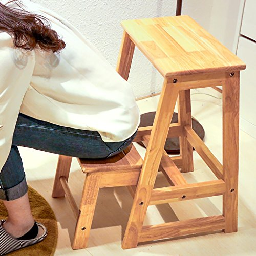 PENGFEI Pliable Stool Ladder Polyvalent Double Usage Bois Massif 1 Couleur 2 Étapes, 29 * 55.5 * 61.5CM