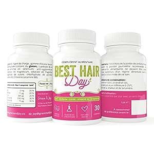 Complément alimentaire cheveux Best Hair Day | Anti-chute | Activateur de pousse | Zinc, Sélénium, Vitamines B6/B8 | Satisfait ou remboursé | Fabriqué en France, 100% Végétalien | 30 Comprimés