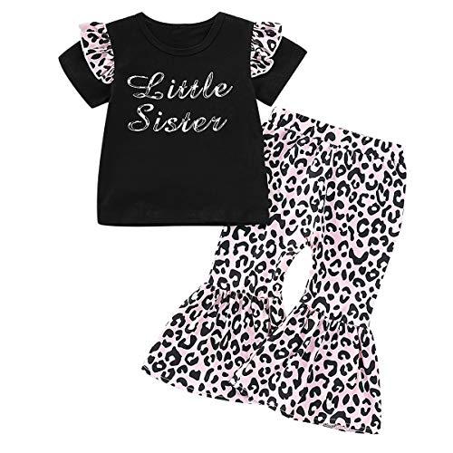 Baby Mädchen Leopardenmuster Kleine Schwester Rüschen T-Shirt Top + Leopardenmuster Bell Bottom Pant Outfits Sets (Size : 80)