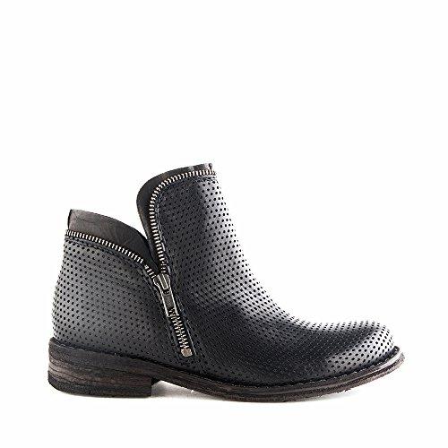 Felmini - Chaussures Femme - Tomber en amour avec Gredo 9457 - Bottines à fermeture éclair - Cuir Véritable - Noir Noir