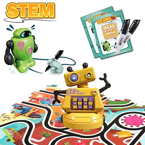 GILOBABY STEM Roboter Spielzeug , kreatives Track Puzzle Spiel Spielzeug , Magischer Optischer Sensor Roboter , Perfektes Geschenk Geeignet für Kinder ab 3 Jahren(72PCS Puzzle + 2 PCS Roboter)