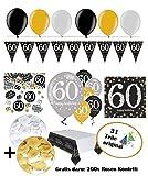 Feste Feiern Geburtstagsdeko Zum 60 Geburtstag   31 Teile Luftballon Wimpel Blüten Konfetti Gold Schwarz Silber Party Deko Set Happy Birthday