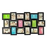 Smartfox Bilderrahmen Fotorahmen Collage in Schwarz - für 18 Fotos im Format 10x15cm (9X Hochformat + 9X Querformat)