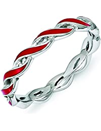 2mm Sterling Silver Stackable Expressions Red Enamel Ring - Ring Size Options Range: J to T