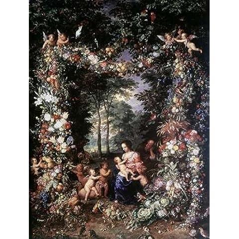 Feelingathome-Stampa-artistica_x_cornice-Sacra-Famiglia-W-/-Corona-di-frutta-e-fiori-cm93x70-arredo-poster-fineart