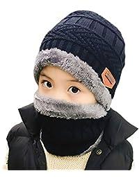 Chapeaux et Foulards pour Enfants,Stillshine Enfants Réchauffent Chapeau Tricoté et Écharpe de Cercle doublées de laine pour Garçons et Filles
