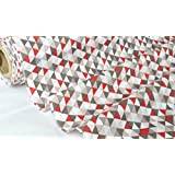 coupon 1metro de tela 100% algodón 'Trimix' gris/rojo 100cm x 160cm