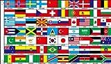 BANDERA MUNDO 70 PAISES 150x90cm - BANDERA DE LAS NACIONES DEL MUNDO 90 x 150 cm - AZ FLAG