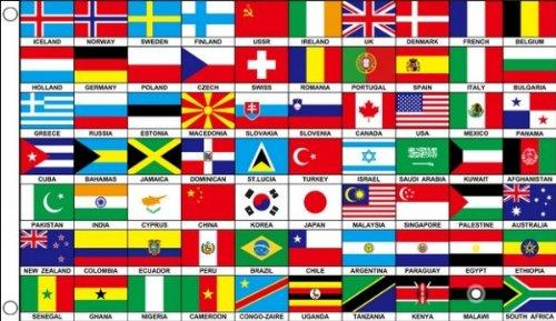 Az flag bandiera 70 paesi del mondo 150 x 90 cm occhielli