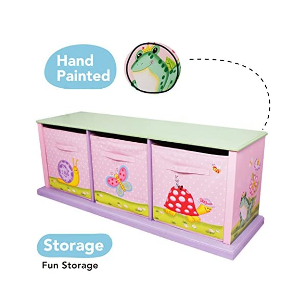 Fantasy Fields by Teamson Sunny 11 Fantasy Fields By Teamson Colourful organised storage cabinet for those keepsakes, toys, games and nik naks. Dimensions 121.92 x 37.47 x 43.82. 3 canvas bags included Sturdy and free standing. Suitable for Kids Bedroom and Playroom enchancing your little ones organisational skills Teach your kids colour and character recognition and enhance their imaginative minds.  Great for encouraging children's independence 3