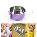 Pets Empire Pet Hanging Cage Bowl,Stainless Steel Dog Bowls,2 in 1 Small Animal Food&Water Bowl 1 Piece Color May Vary