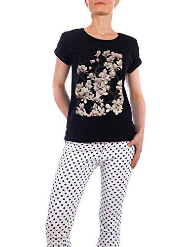"""Design T-Shirt Frauen Earth Positive """"Magnolie"""" - stylisches Shirt Floral von Tan Kadam Schwarz"""