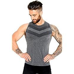 Sundried Camiseta sin Mangas ni Costuras para Hombres para Atletismo Gimnasio Activewear (Medium)