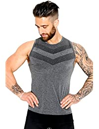 Sundried Men's Muscle Fit Athletic Gym Tank Top Vest Seamless Activewear