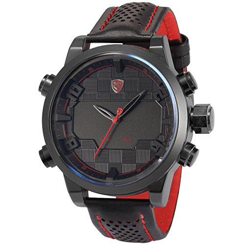 Sawback Angelshark Sport Quarz Uhren Armbanduhr Herren Echtes Leder LED Anzeige Weckerfunktion Tagesanzeige Datumsanzeige SH203